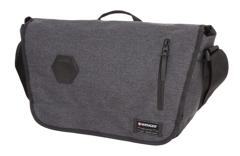 Сумка наплечная горизонтальная WENGER, цвет серый, 14 л., 42х26х13 см., отделение для ноутбука 13