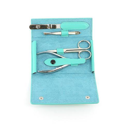 Маникюрный набор GD, 4 предмета, цвет бирюзовый, кожаный футляр