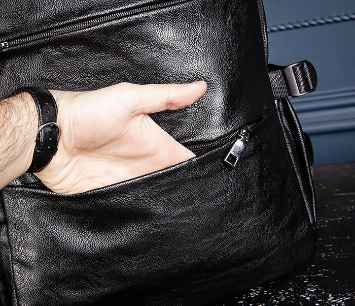 BAG527-1 Кожаный рюкзак с несколькими отделениями фото 11