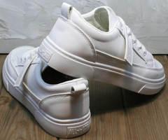 Кожаные кроссовки женские для ходьбы El Passo 820 All White.