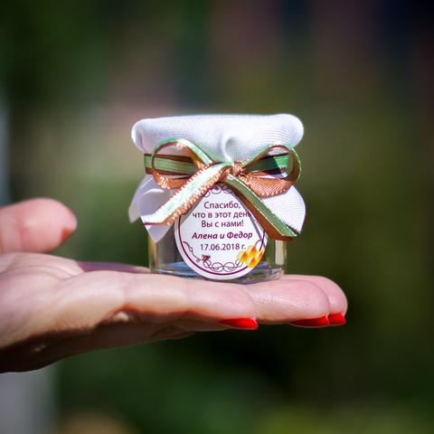 Бонбоньерка с медом на свадьбу в белом цвете с двойной лентой, 40 грамм