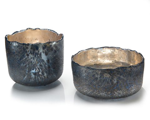 Set of Two Hint of Blue Open Bowls