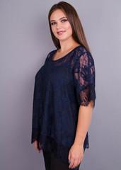 Квітка. Гіпюрова блуза size plus. Синій.