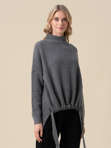 Женский свитер темно-серого цвета из 100% кашемира - фото 2