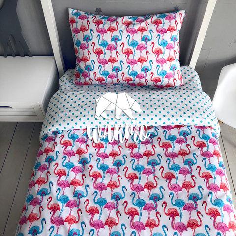 купити дитячу постіль з різнокольоровими фламніго півтораспальну фото