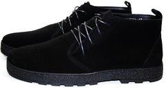 Мужские замшевые ботинки демисезонные. Черные ботинки на шнуровке Ikoc Black.