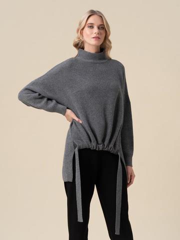 Женский свитер темно-серого цвета из 100% кашемира - фото 3