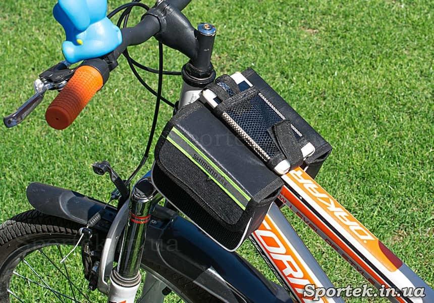 Велосумка Shimano на рамі велосипеда