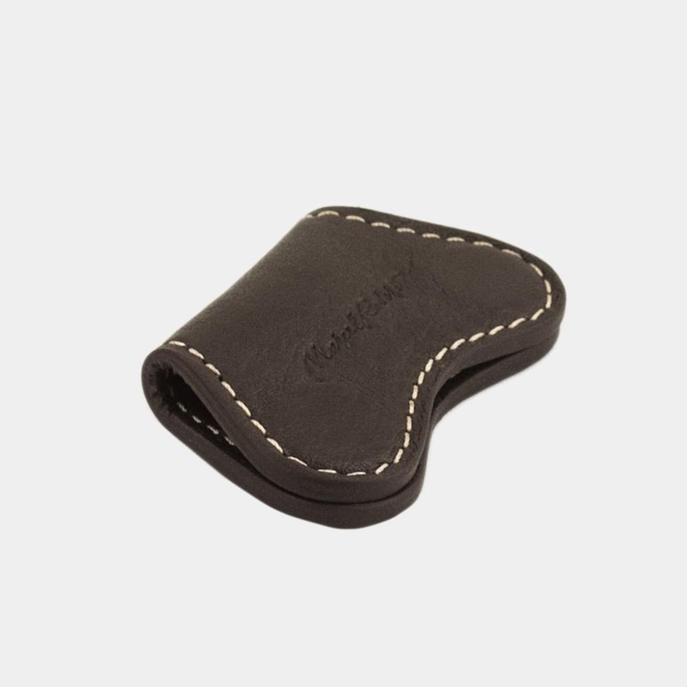 Чехол-держатель для наушников Papillon Easy из натуральной кожи теленка, темно-коричневого цвета