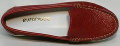 Весенние туфли мокасины кожа Evromoda 042.5710 WRed.