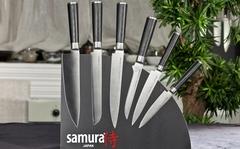 SKM-007/16 Набор из 6 кухонных стальных ножей и магнитной подставки Samura Mo-V