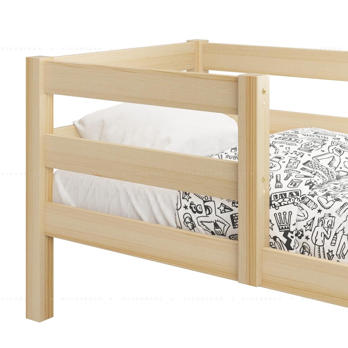 Бортик крепится к спинке и царге. В спинках кровати имеются отверстия для крепления. Крепление к царге невидимое (крепится изнутри).