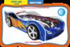 Кровать-машина форсаж-синий (с пластиковыми колесами)