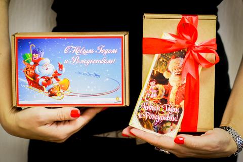 Медовый подарочный новогодний набор HoneyForYou в крафт-коробке с принтом №1