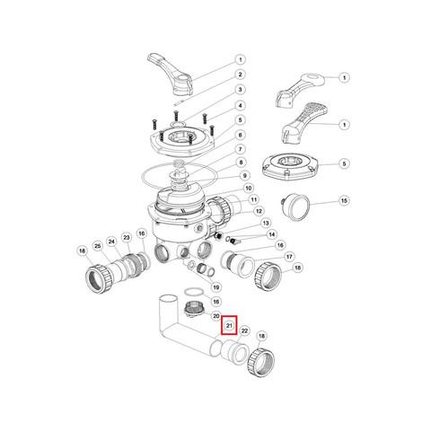Колено 6-ти позиционного клапана Aquaviva S / SP / MFS 1.5