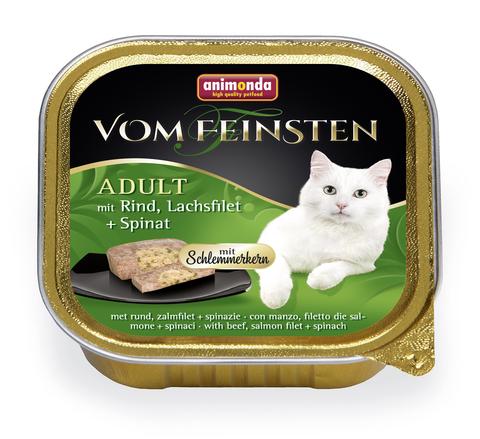 Консервы Animonda Vom Feinsten Adult Меню для гурманов с говядиной, филе лосося и шпинатом для взрослых привередливых кошек