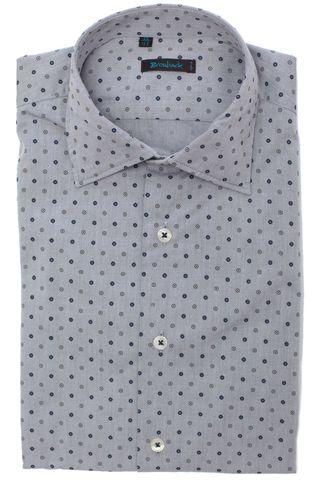 Светло-серая рубашка с мелким синим геметрическим рисунком