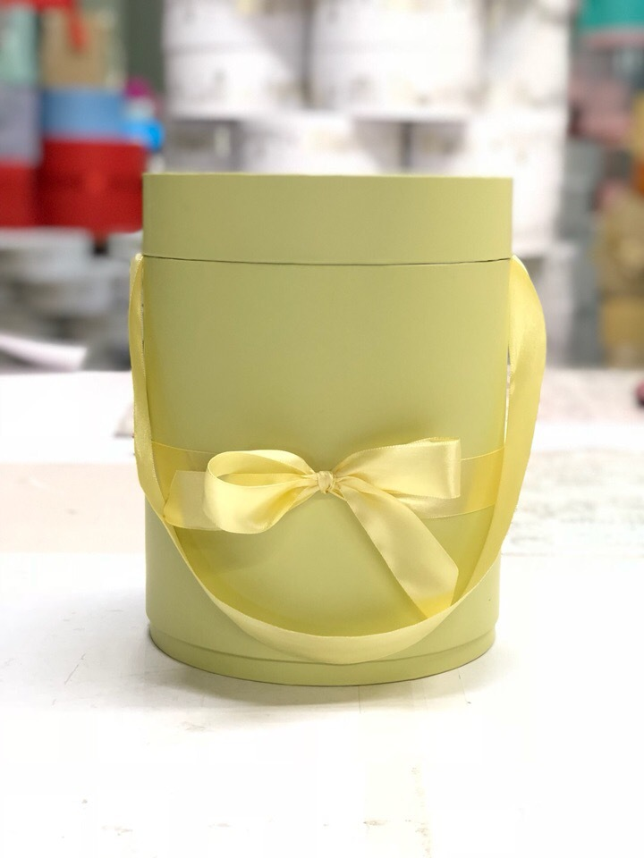 Шляпная коробка D 22,5 см .Цвет:  Нежно желтый  . Розница 450 рублей