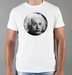 Футболка с принтом Альберт Эйнштейн (Albert Einstein) белая 0010