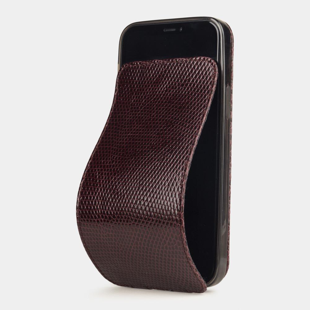 Чехол для iPhone 12/12Pro из натуральной кожи ящерицы, бордового цвета