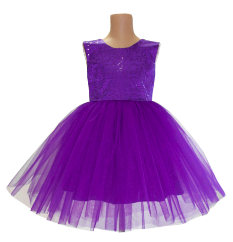Платье короткое фиолетовое с пайетками
