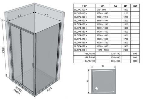 Душевая дверь Ravak Blix BLDP2 - 120 блестящий + транспарент  0PVG0100Z1  схема