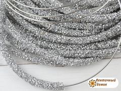 Шнур трубчатый стразовый серебряный 40 см