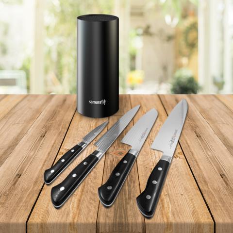 Набор из 4 ножей Samura PRO-S (10, 45, 95, 87) и подставка KBF-102