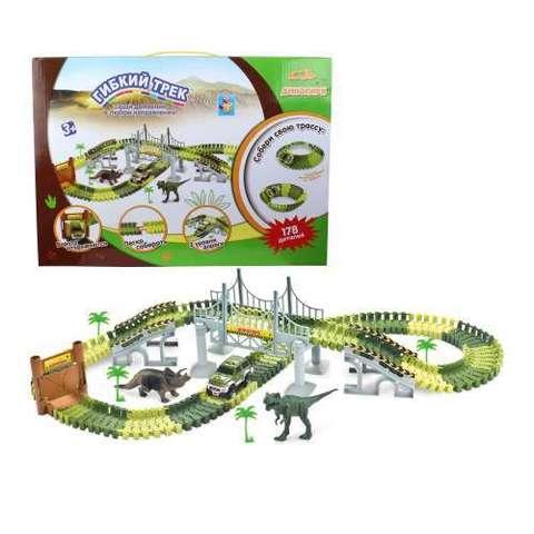 Гибкий трек - динопарк мост, ворота, 1 машинка, 178 деталей