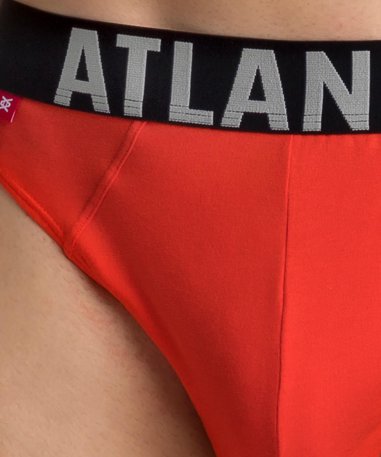 Мужские трусы слипы спорт Atlantic, набор 3 шт., хлопок, хаки + серый меланж + оранжевые, 3SMP-003