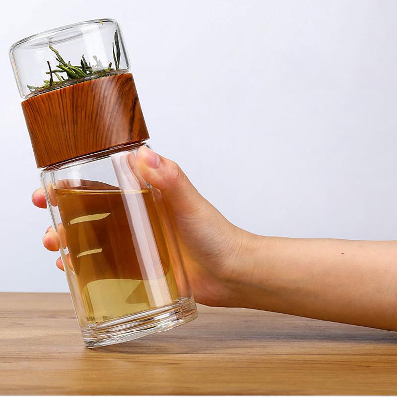 Чайная бутылка с двойным стеклом ситечком дерево 350 мл