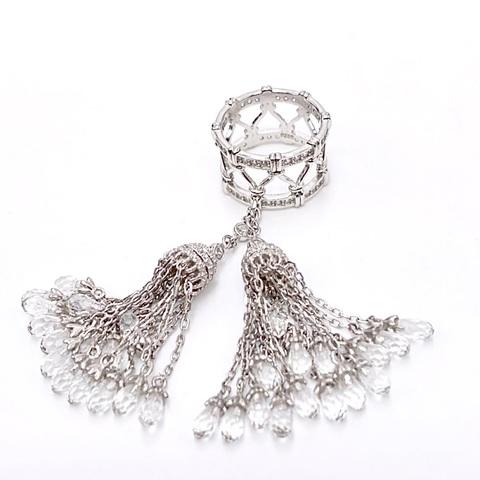 111/07- Кольцо из серебра с двумя кисточками с цирконами- капельками огранки бриолет