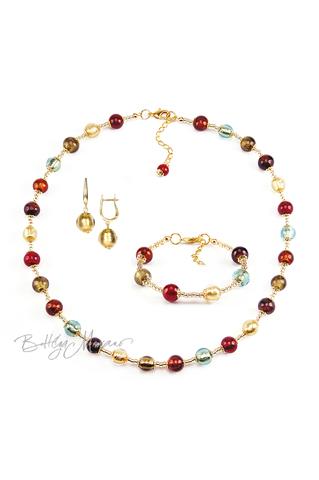Комплект Carnavale Oro (золотистые серьги на серебре, ожерелье, браслет)