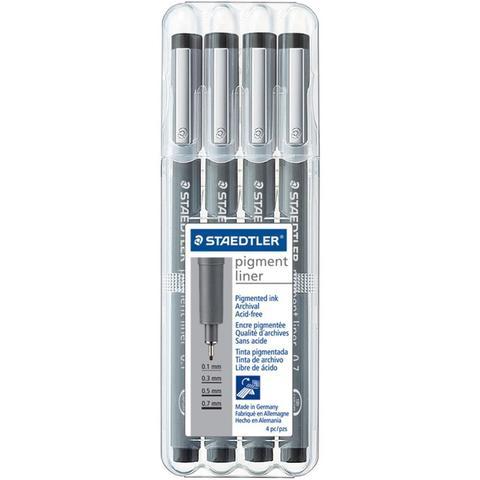 Набор пигментных маркеров  Pigment Fineliner Sketch Pen - Black- 4шт