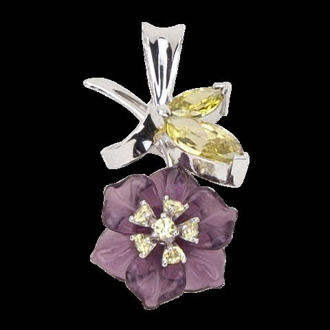 Подвеска с цветком из фиолетового кварца и фианитами