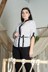 Прима. Красива комбінована блуза великих розмірів
