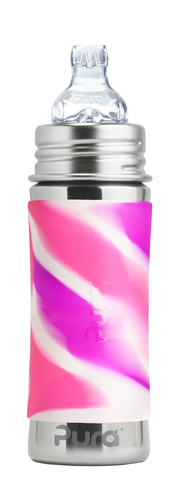 Детская стальная бутылочка-поильник Pura Kiki 325 мл (6 мес+) (розовый вихрь)