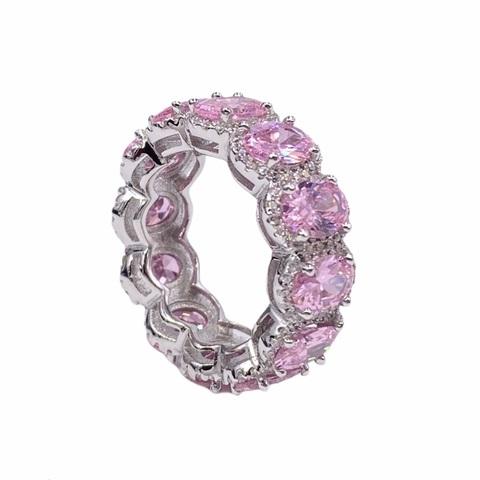 40037- Кольцо-дорожка из серебра с розовыми,овальными цирконами