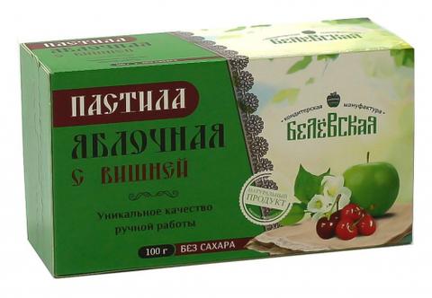 Пастила Белёвская яблочная с вишней без сахара, 100 г