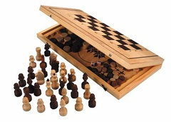 Шашки / шахматы / нарды. Игра 3-в-1 (доска+фигуры)
