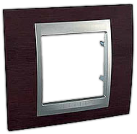 Рамка на 1 пост. Цвет Венге-алюминий. Schneider electric Unica Top. MGU66.002.0M3
