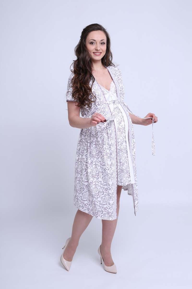 Комплект для беременных и кормящих с халатом и сорочкой 08414 молочный