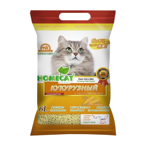 Homecat Eco Line Кукурузный Наполнитель для кошачьих туалетов комкующийся