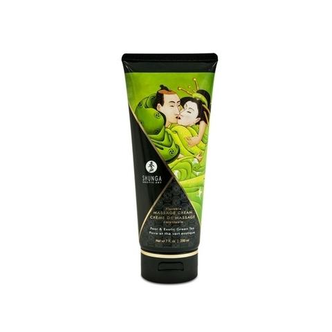 Shunga Массажный крем для тела Груша и экзотический зеленый чай серии Необыкновенные поцелуи, 200ml