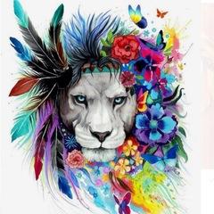 Картина раскраска по номерам 30x40 Лев с цветными перьями