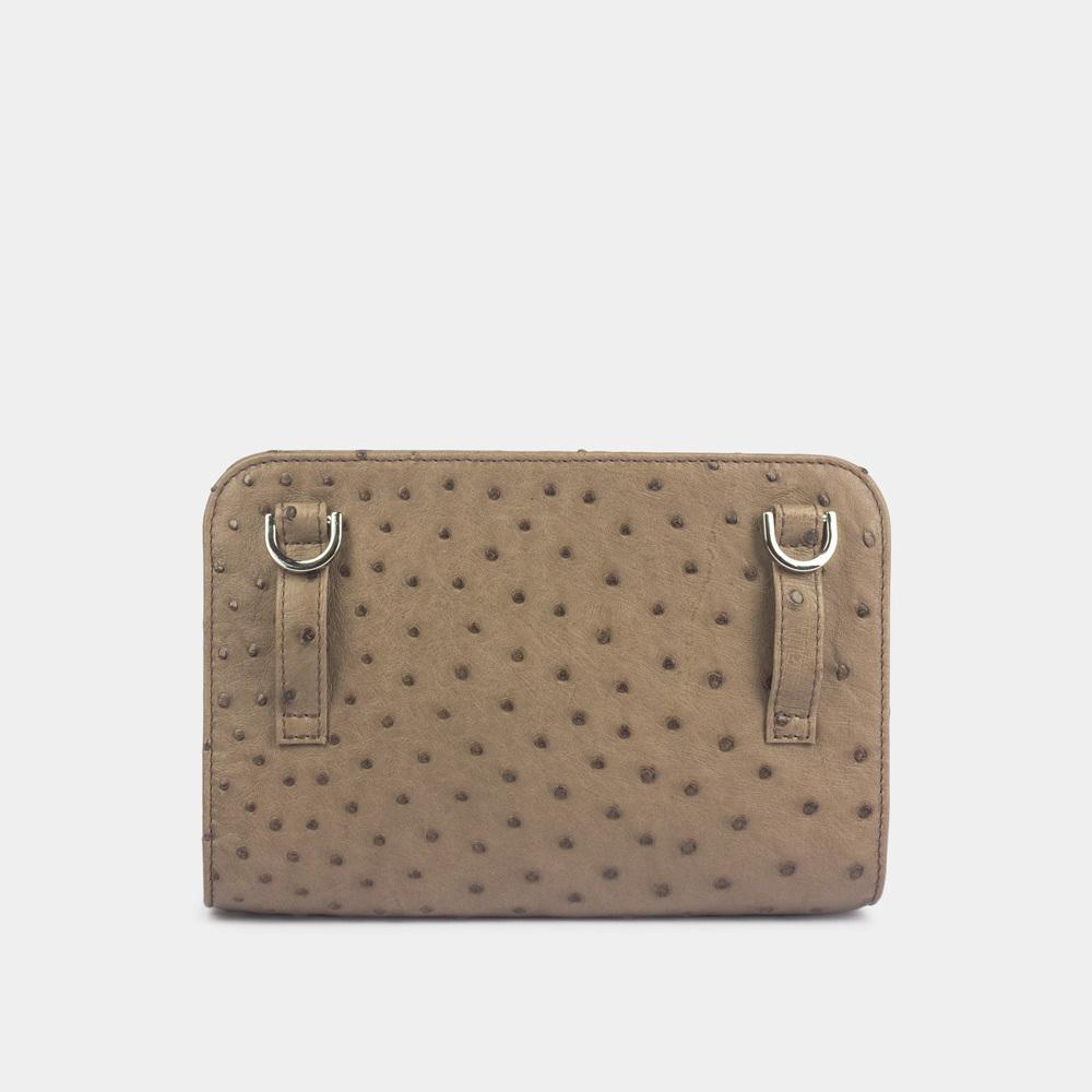 Женская сумка Elodie Bisness из натуральной кожи страуса, коричневого цвета