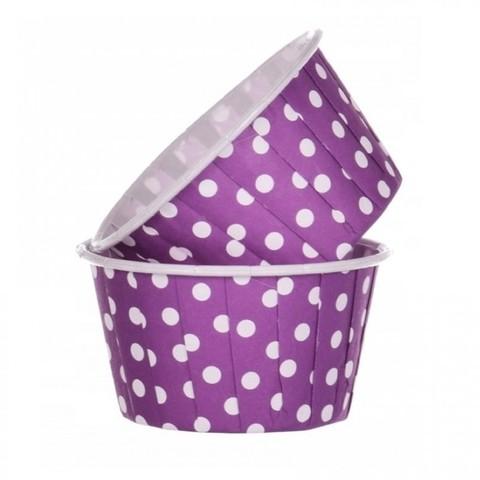 Капсулы для капкейков усиленные, фиолетовые в горох,20шт,50*40мм