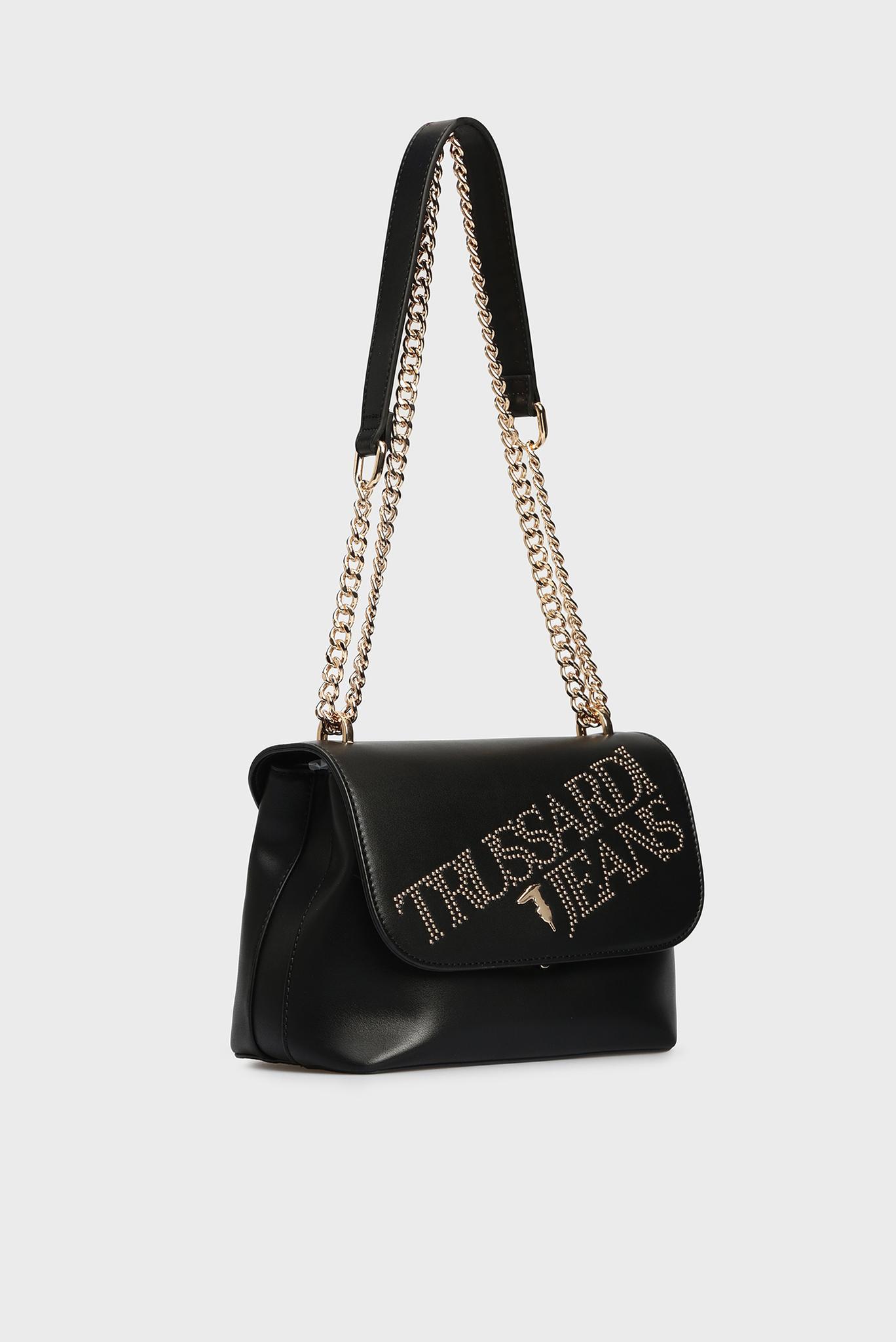 Женская черная сумка через плечо Trussardi Jeans