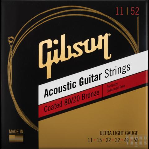 GIBSON Coated 80/20 Bronze Acoustic Guitar Strings Ultra-Light Струны для акустической гитары