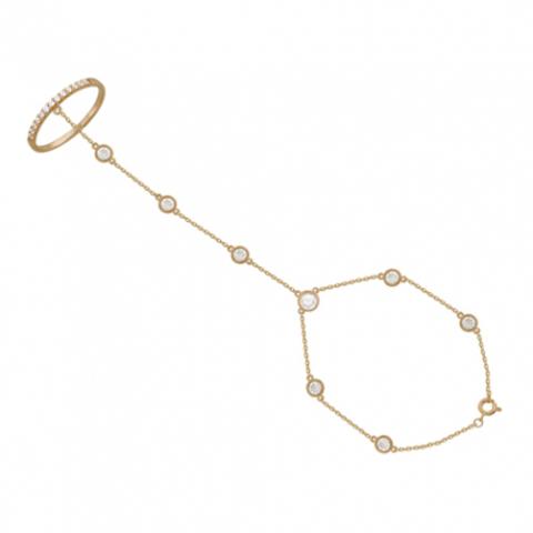 01Б111525 - Слейв браслет-кольцо из золота с фианитами